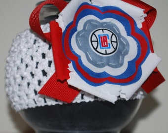 LA Clippers Fabric Flower Headband for Baby