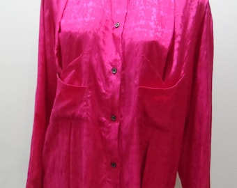 JONATHAN ELLIOT Australian designer 1970's fuchsia long sleeve shirt with pocket detail Size 12 Vintage