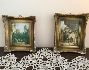 Vintage paintings - Vintage 2 piece set paintings - Vintage picture 2 set  - picture with gold frame - Set of 2 picture with gold frame