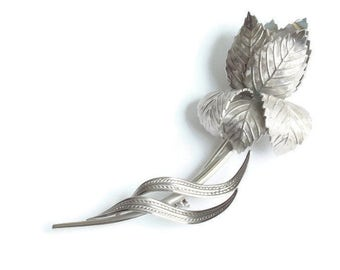 Large Silver Tone Rose Brooch Giovanni Wedding Gift Idea Vintage