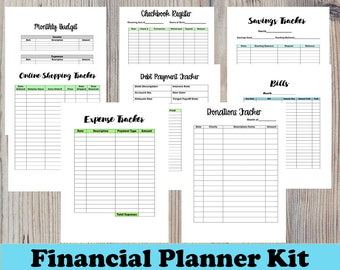 Financial Planner Monthly Bills Planner Insert A5 Planner Insert Expense Tracker Budget Planner Finance Printable A5 Financial Bundle