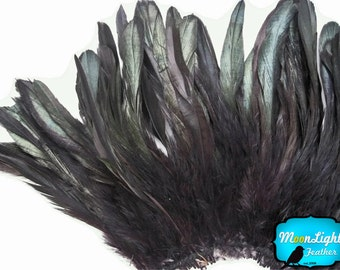 4 Inch Strip - BLACK Dyed Schlappen Strung Rooster Feathers: 323