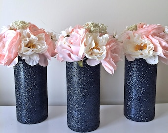 3 Navy Vases,  Glass Vases, Navy decorations, Wedding Centerpiece, Birthday Party Decor, Wedding Vases, Bridal Shower, Table centerpieces