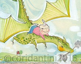 Dragon nursery art, little girl riding a dragon by Cori Dantini,  girls room - nursery decor - limited edition - 8 x 10 print
