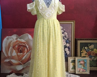 Yellow maxi dress, vintage dress, floral print, floral dress, prairie dress, dress for prom, handmade clothing, yellow witg flowers, upcycle
