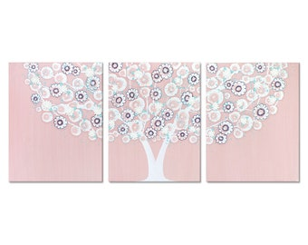 Large Wall Art for Girl's Pink Nursery, Textured Tree Painting on Canvas Triptych, Pink, Blue, Aqua - 50x20