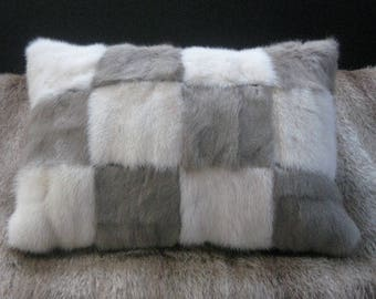 PATCH ME very sweet tiny grey & mink vintage patchwork cushion