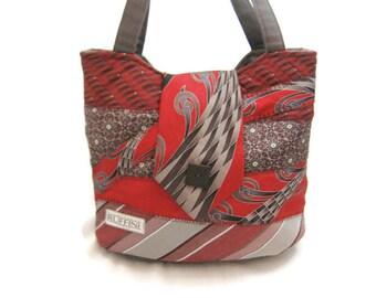 Handmade Necktie Handbag with Gray Red Black and White