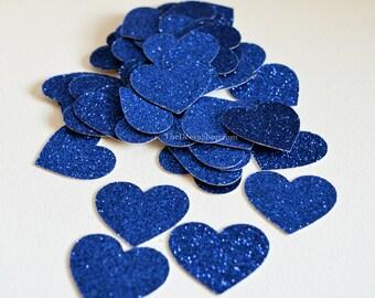 Glitter Confetti - Blue Glitter Confetti Hearts - Glitter Wedding Decor - Party Cut Out Glitter Hearts - Table Scatter  Confetti 50 Pcs