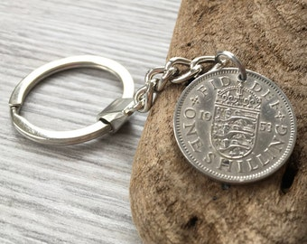 65th birthday gift, 1953 vintage English coin keychain, keyring, British shilling key fob, Anniversary, Retirement present for him, man