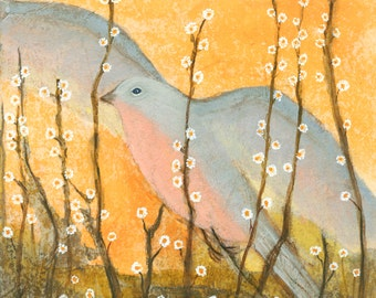 Bird With Flowers 1.  PRINT