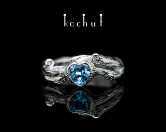 Topaz twig ring, blue topaz ring, branch ring. Silver twig ring with topaz heart and small diamonds from Kochut twig collection.