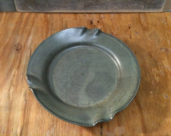 Wheel Thrown Pottery Plate with Lizzard Skin glaze