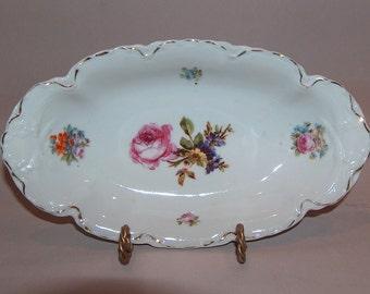 p7608: Antique Bavaria Relish Dish Bowl Dresden Floral Flowers Gold Trim at Vintageway Furniture