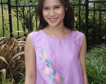100% Silk- Two layer front blouse with hand painting Orchid - Lilac