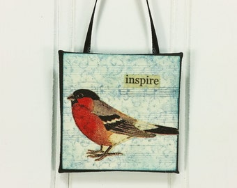 Red Breast Little Bird Ornament, Inspire, Rosy Finch Woodland Bird Miniature Art Wall Hanging