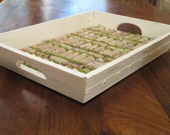 Distressed Wooden/Wine Cork Tray/Christmas/Birthday Gift Idea
