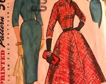 Vintage 1950's Mad Men Wiggle Dress or Full Skirt Pattern---Simplicity 1714---Size 12  Bust 32