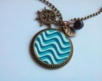 Long necklace - fancy Cabochon ' pattern: Waves '