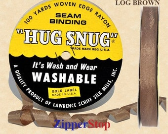 Hug Snug Seam Binding 100-yds Roll 1/2inch Wide Hug Snug - 053 - LOG BROWN - 100 percentage Woven-edge Rayon - Wash 'n Wear - made in USA