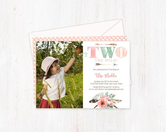 tribal birthday invites, 2nd birthday invitations, in TWO the wild invites, second birthday party, girl turning two, flower child invites
