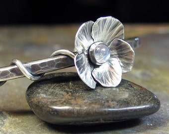 Handmade Sterling Silver Flower Cuff Bracelet - Moonflower