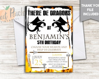 Knight Birthday Invite Boy Invitation 5x7 Digital Personalized Medieval There Be Dragons Sword Lance Mace Axe Weapons Role Playing Party#233