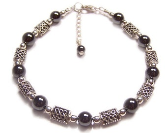 Hematite bracelet Celtic knotwork Sterling silver bracelet - beautiful glossy black grey gemstone