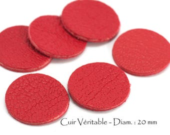 6 round genuine leather - Diam. 20 mm - goat leather - red tomato set