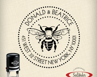 "Custom Self-Inking Address Stamp - ""Buzzing Bee"""