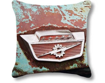Vintage Truck Rust Pillow, Classic Car Antique Ford Pickup Photography Pillow Cover, Thunderbolt Rusted Industrial Man Cave, Blue Burgundy