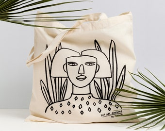 GIRL I - Tote bag by Depeapa, Afro Girl Tote bag, organic canvas tote, depeapa, screen printed tote bag, illustration