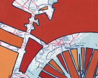 Charleston - small print - Charleston, Mt Pleasant, Beaufort, Hunting Island, Edisto, Sullivans,  South Carolina bicycle archival print