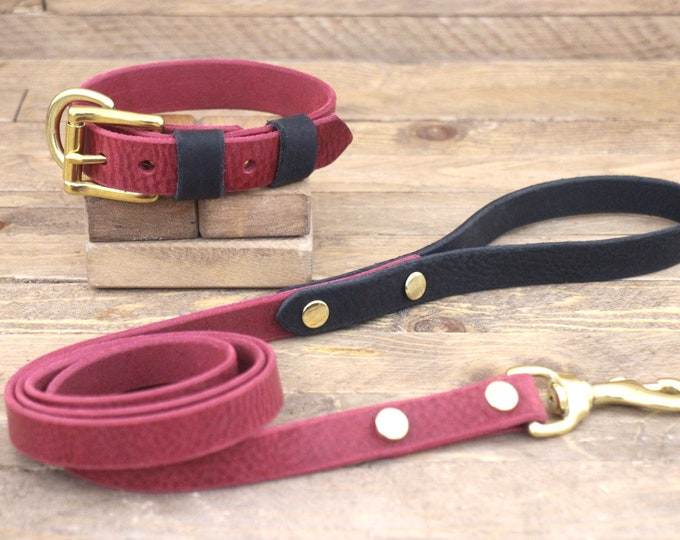 Burgundy collar, Leather leash, Dog collar, FREE ID TAG, Brass hardware, Raven colour, Handmade collar, Dog leather leash, Strong leash.