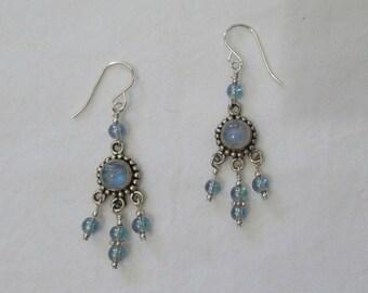 Moonstone & Sterling Silver Chandelier Earrings - g405e11