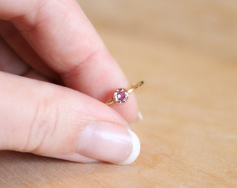 Pink Tourmaline Ring - October Birthstone Ring - 14k Gold Fill or Sterling Silver - Stacking Ring - Gemstone Ring Pink Ring Bridesmaids Gift