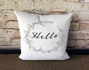 Hello Pillow - Hello - Housewarming Gift - Typography Pillow - Pillows With Words - Farmhouse Pillow - Hello Decoration - Hello Decor