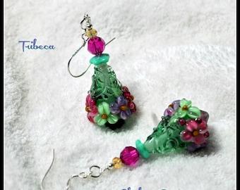 Earrings,Emerald Green Earrings,Lampwork Earrings,Dangle Earrings,Floral Earrings,Flower Jewelry,Cone Earrings -TRIBECA