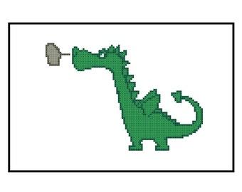 Baby Cross Stitch Pattern PDF - Cute Dragon - Instant Download, Kids Room Decor