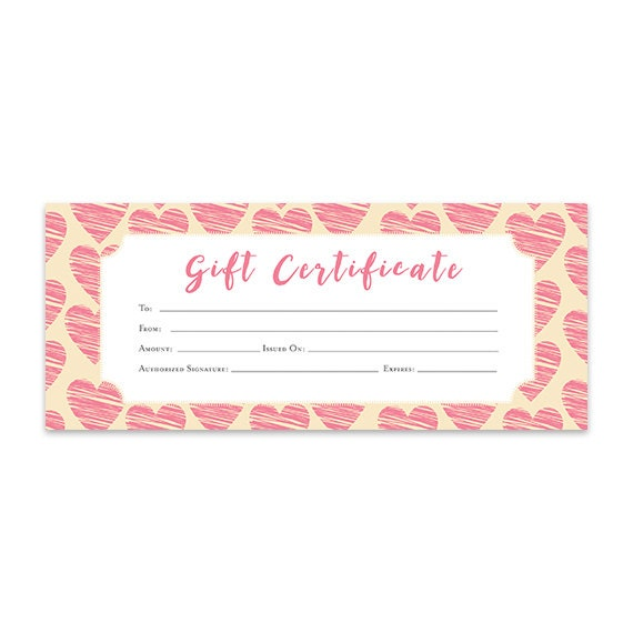 Heart hearts pink hearts gift certificate download premade gift heart hearts pink hearts gift certificate download premade gift certificate template printable love coupon blank gift certificate from cafeink on yadclub Image collections