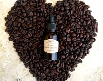 100% Organic Caffeine Eye Serum for Puffiness, Dark Circles, bags & Wrinkles (Proven to work) 1.2oz