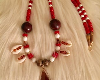 Beaded red and white necklace