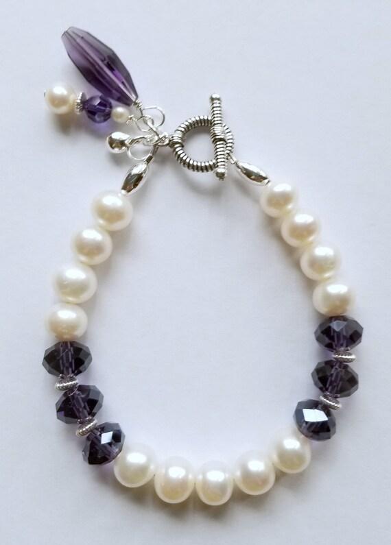 White Pearl Bracelet, Pearl Bracelet, Purple Crystal Bracelet, Purple Bracelet, White Bracelet