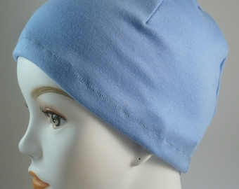 Ladies Sky Blue Cancer Chemo Scarf Liner Soft Sleeping Cap