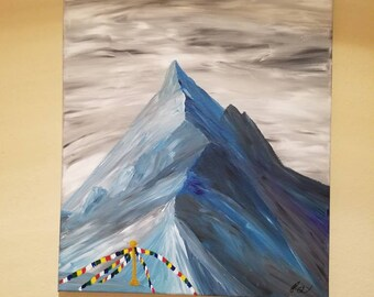 Himalayan prayer flags mountain acrylic painting on canvas, snow covered mountain painting