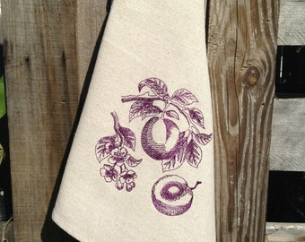 Dish Towel Vintage Style Plums Embroidered