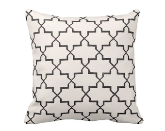 "SALE Trellis Block Print Throw Pillow, Boho Black & Off-White Geometric 16"" Square OUTDOOR Pillow"
