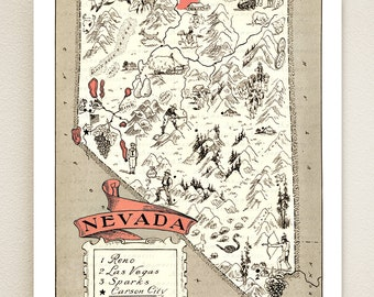 NEVADA MAP PRINT - vintage pictorial map for framing - wedding gift idea - size & color choices - can be personalized - dorm room art print