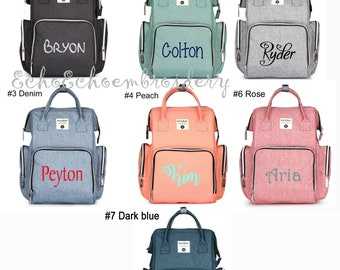 Diaper bag, Nappy, Baby Bag. Backpack PERSONALIZED  name monogram embroidered   6 Color options  Insular
