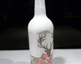 Stag, Upcycled decoupage bottle, cork led lights which can be reomved. Wedding/Birthday/Christmas